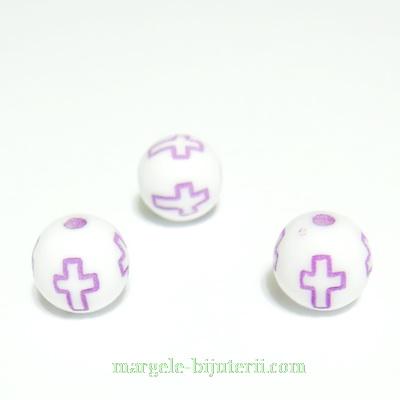 Margele plastic alb, cu cruciulite mov, 8mm 10 buc