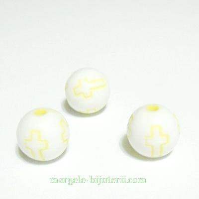 Margele plastic alb, cu cruciulite galbene, 10mm 10 buc