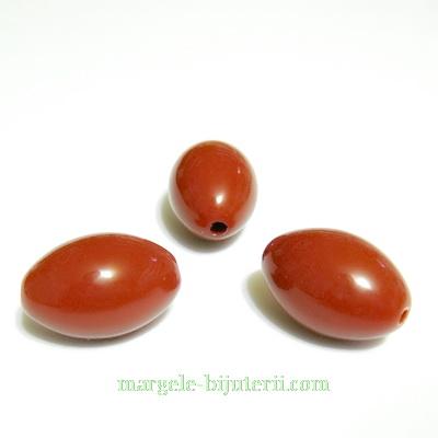 Margele plastic, maro, ovale, 20x14mm 1 buc