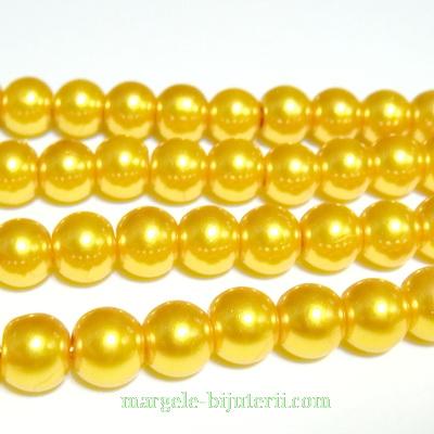 Perle sticla, auriu-metalizat, 8mm 10 buc