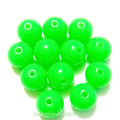 Margele plastic, verde-lime, 10mm 10 buc
