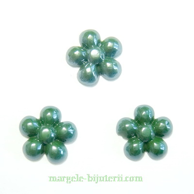 Cabochon portelan, floare verde-smarald, 13~14x3mm 1 buc