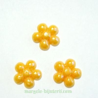 Cabochon portelan, floare portocalie, 13~14x3mm 1 buc