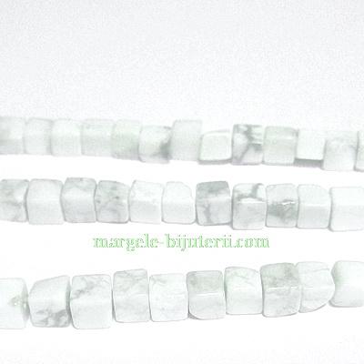 Howlite alb, cubic, 4mm 1 buc