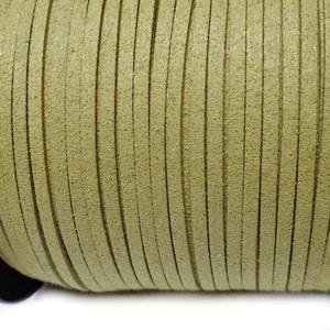 Snur faux suede, verde-galbui, grosime 3x1.5mm 1 m