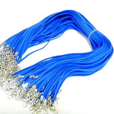 Snur faux suede, 3x1.5mm, albastru-cobalt, cu inchizatoare, 45 cm 1 buc