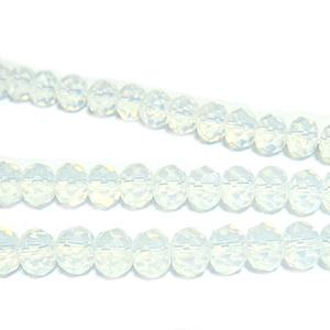 Margele sticla, rondel, multifete, imitatie opal, 6x4mm 10 buc