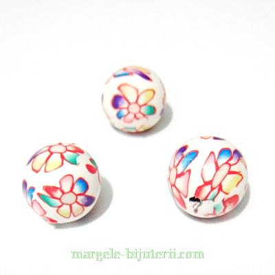 Margele fimo, albe cu flori,12`13 mm 1 buc
