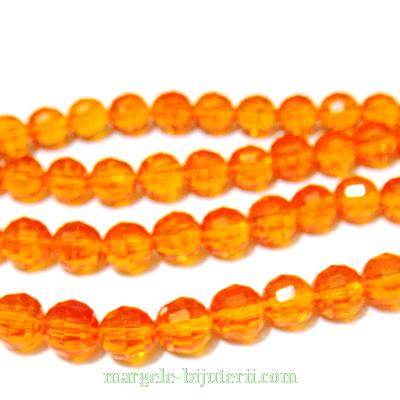 Margele sticla, multifete, portocalii, transparente, 6mm 1 buc