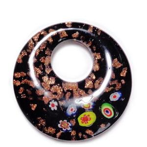 Pandantiv Murano negru cu floricele si glitter auriu, 52x10mm 1 buc
