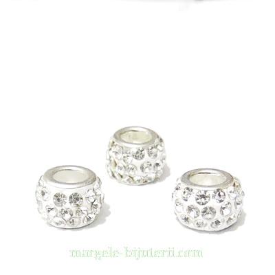 Margele fimo, tip Pandora,  rhinestone, albe, 10~12x7~8mm 1 buc