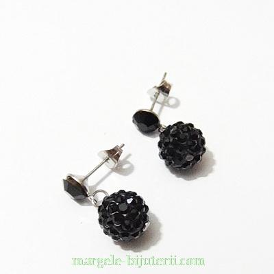 Cercei margele shamballa negre 10mm, accesorii otel inoxidabil 304 1 buc