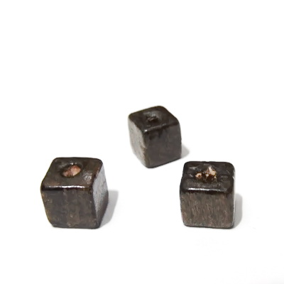 Margele lemn, cubice, maro, 10mm 10 buc