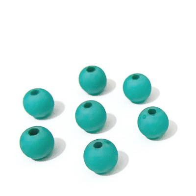 Margele plastic, mate, verde-turcoaz, 8mm 10 buc