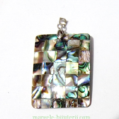 Pandantiv Scoica Paua, dreptunghiular, 40x30x3.5mm 1 buc