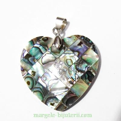 Pandantiv Scoica Paua, inima, 35x35x3.5mm 1 buc