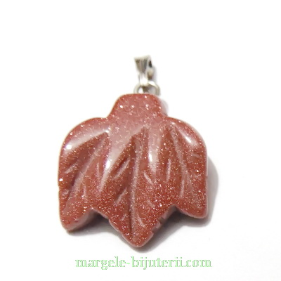 Pandantiv piatra soarelui maro, frunzulita 20x18x6mm 1 buc