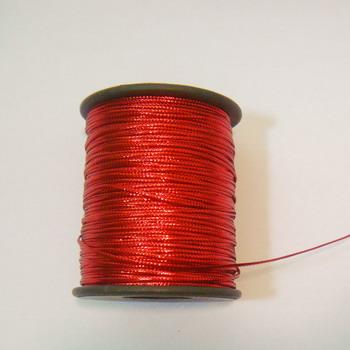 Fir lurex rosu plat, 1mm 1 m