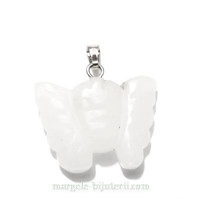 Pandantiv jad alb, fluturas 20x22x6mm  1 buc