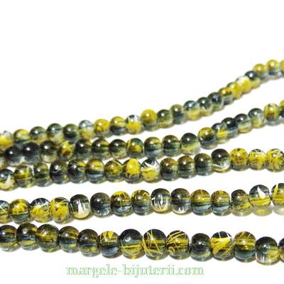 Margele sticla transparente, cu negru si galben, 4mm 10 buc