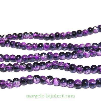 Margele sticla transparente, cu negru si violet, 4mm 10 buc