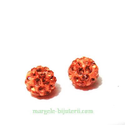 Margele shamballa, portocaliu-roscat, 8mm 1 buc