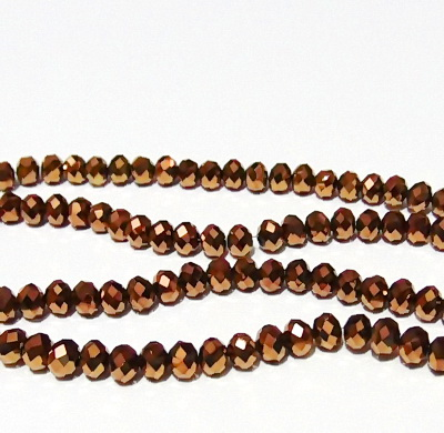 Margele sticla, multifete, rondel, maro-metalizat, 6x4mm 10 buc