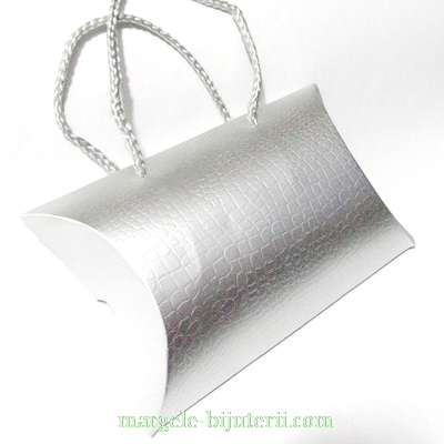 Plasa cadou, carton argintiu, 17x12x4cm 1 buc