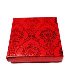 Cutie carton, rosie cu rosu metalizat, 8.5x8.5x2.5cm 1 buc