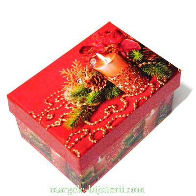 Cutie carton, imagini Craciun, model 2, 12x8.5x6.5 cm 1 buc