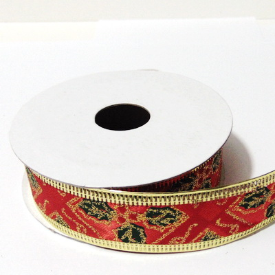 Panglica ribbon rosu cu lurex auriu, latime 24mm-rola 2.7m 1 buc