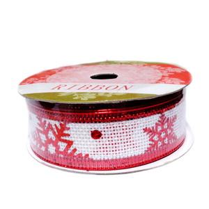Panglica ribbon alb cu stelute rosii, latime 24mm-rola 2.7m 1 buc