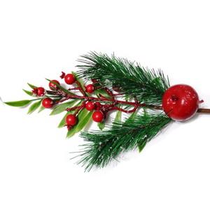 Ornament Craciun 44cm cu crenguta brad, fructe si mar 1 buc