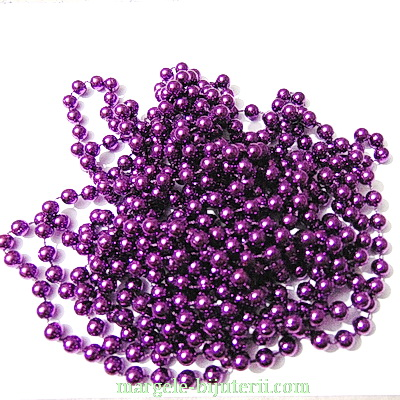 Margele plastic violet, 8mm, insiruite pe ata - 5 metri 1 buc