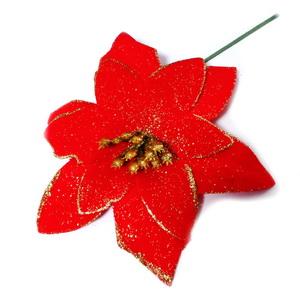 Craciunita rosie, cu glitter auriu, 11~12 cm 1 buc