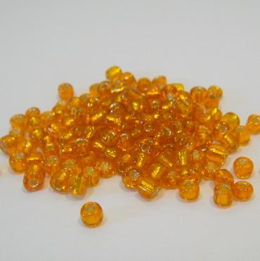 Margele nisip, portocalii, cu miez argintiu, 4mm 20 g