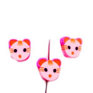 Margele polymer, cap de pisica, roz cu rosu, 11x11x4mm 1 buc