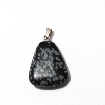 Pandantiv obsidian fulg de nea, trapezoidal, 22x7~17x5mm 1 buc