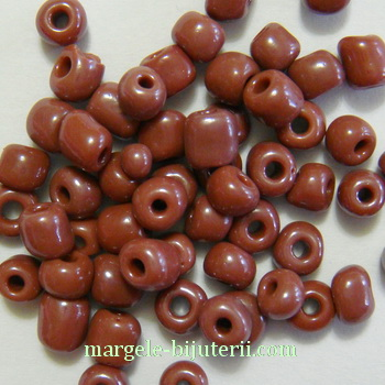 Margele nisip, mate, maro-roscat, 4mm 20 g