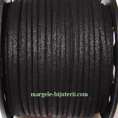 Snur faux suede, negru, cu glitter, grosime 3x1.5mm 1 m