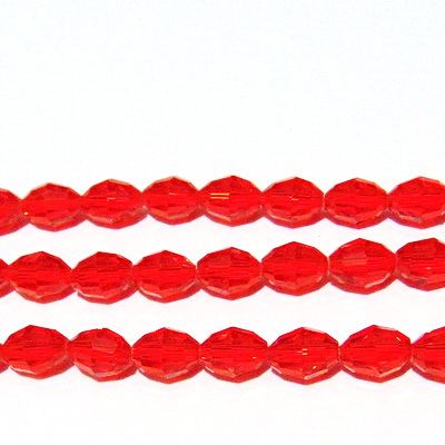 Margele sticla ovale, multifete, rosii, 10x8mm 1 buc