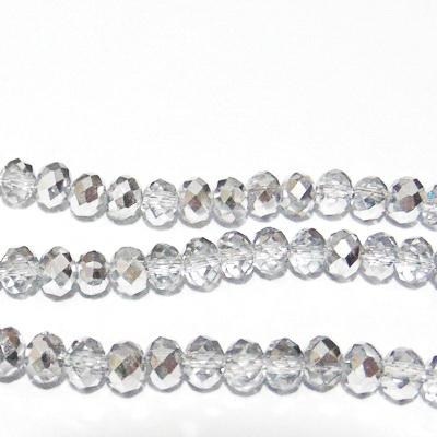 Margele sticla, multifete, rondel, transparente-semimetalizat, 6x4mm 10 buc