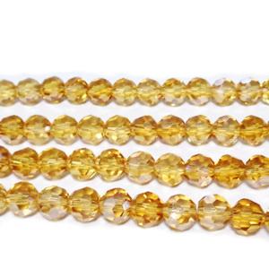 Margele sticla, multifete, electroplacate, maro-auriu, 6mm 10 buc