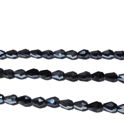 Margele sticla multifete negre-hematit, lacrima 6x4mm 1 buc