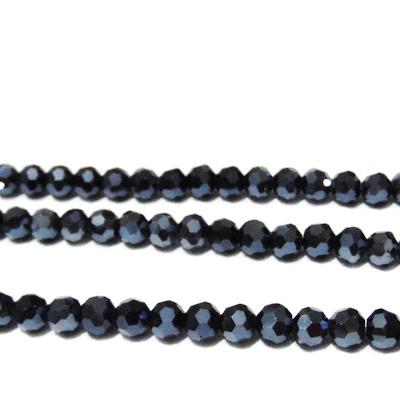 Margele sticla multifete negre-hematit, 6mm 10 buc