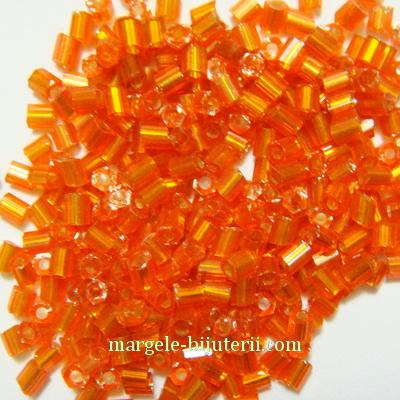 Margele tubulare, portocalii cu interior argintiu, 3mm 20 g