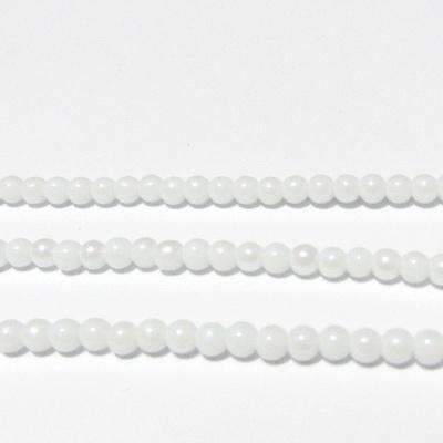 Perle sticla, albe, placate, 4mm 10 buc