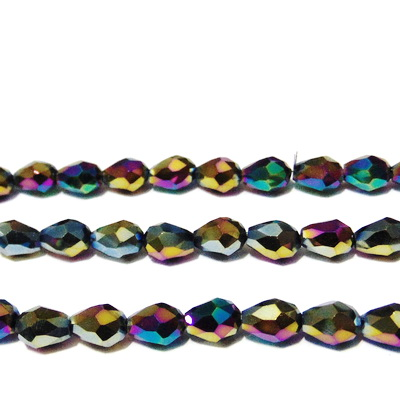 Margele sticla, multifete, placate multicolor, lacrima 8x6mm 1 buc