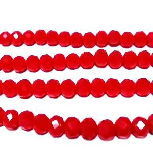 Margele sticla, multifete, rondel, rosu-coral, 4x3mm 10 buc