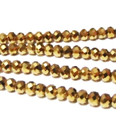 Margele sticla, multifete, rondel, auriu-metalizat, 6x4mm 10 buc